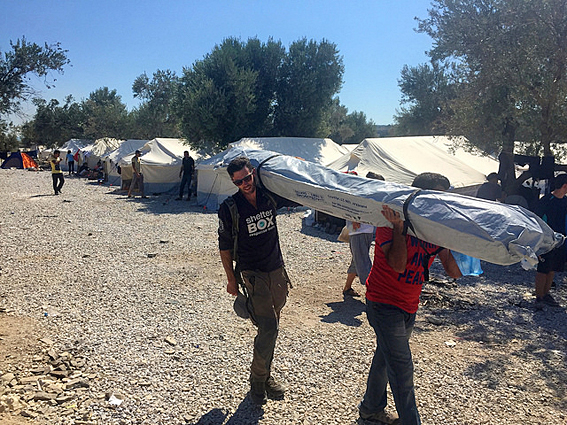 Shelterbox has sent 100 UN spec tents and 100's of metres of shade cloth to Lesbos
