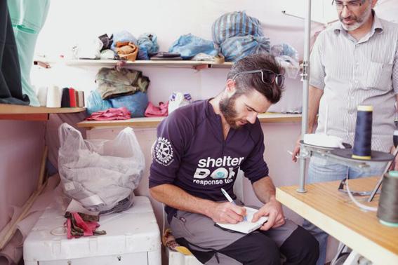 Portrait of SRT member, Jack Bailey in the tailor's shop