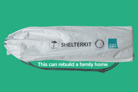 Image of a Shelter kit in a duffle bag