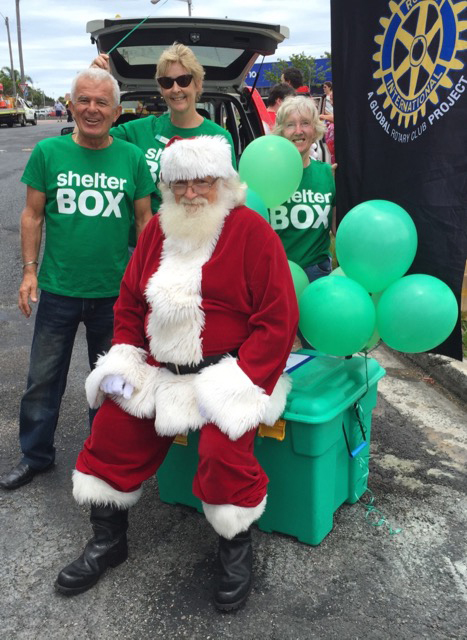 Santa sitting on a ShelterBox