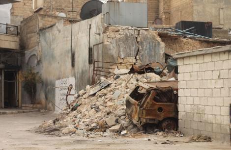 Bomb damage in Aleppo
