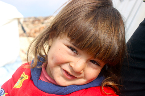 Close-up portrait of young Syrian girl
