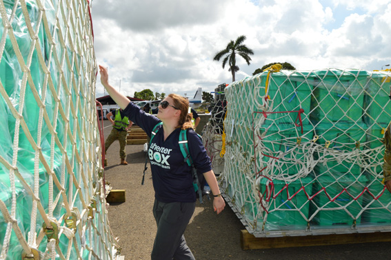 Shelterbox aid arrives at Nausori airport in Fiji