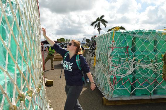 Shelterbox aid arrives at Nausori airport in Fiji