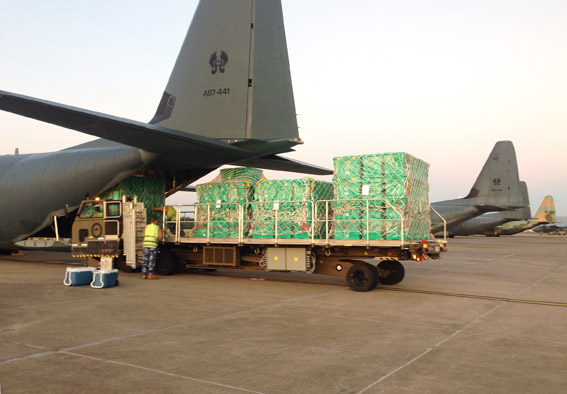 Consignment of ShelterBoxes being loaded onto a RAAF C130 transport plane at Richmond Air Base