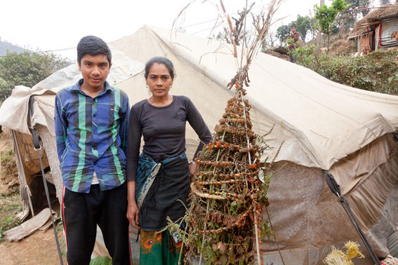 ShelterBox beneficiary, Apsara Basmat (33) and her 15yr old son, Pipaldanda, Sindupalchowk, Nepal