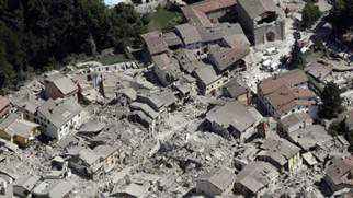 Aerial photo of a flattened Amatrice