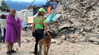 Italian rescue worker with search dog in Perugia, Italy