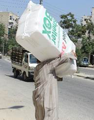 ShelterBox/Relief Aid shelter kit being distributed in Aleppo