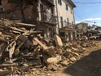 Collapsed house in Amatrice
