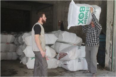 ShelterBox shelter kits being distributed by Relief Aid in Aleppo