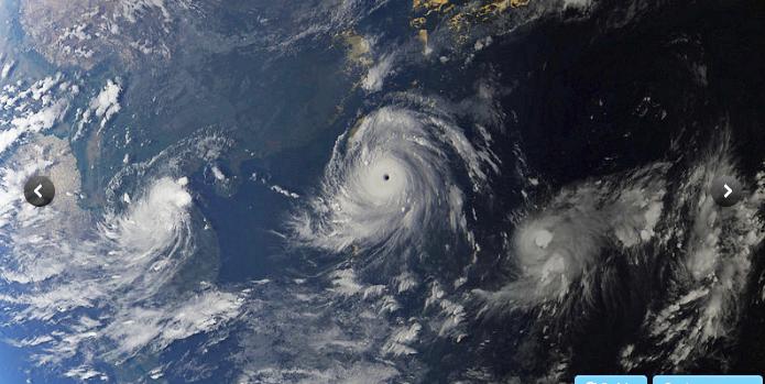 Satellite image of cyclone Meranti