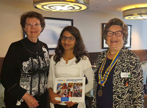 Past District Governor D 9465, Melodie Kevan with Anisha and the President of the Rotary Club of South Perth- Burswood, June Wade