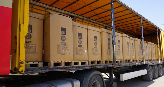 Pallets fo ShelterBox relief tents arrive in Erbil