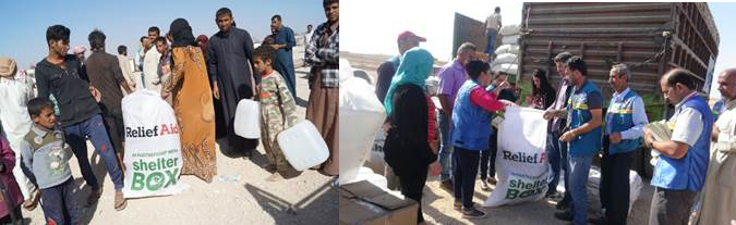 Shelterbox aid being distributed to Iraqi IDPs
